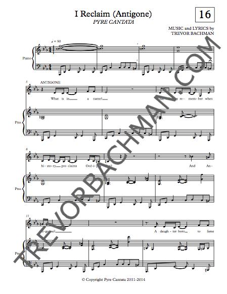 Image of 'I Reclaim (Antigone)', PYRE CANTATA Sheet Music