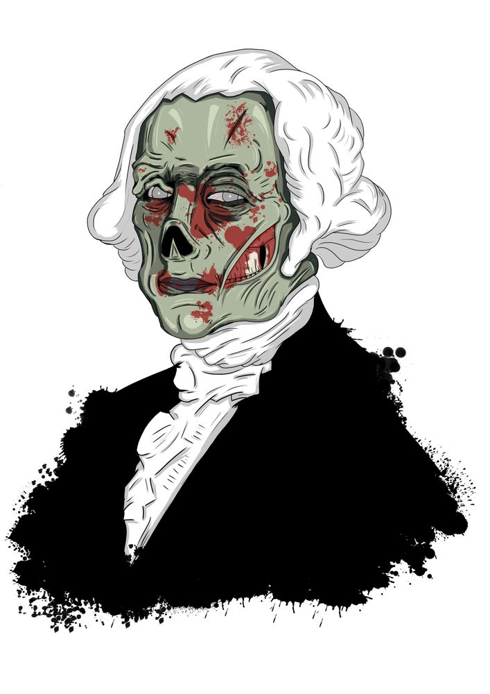 Image of Zombie George Washington A3 (16.5 x 11.7 inches) print