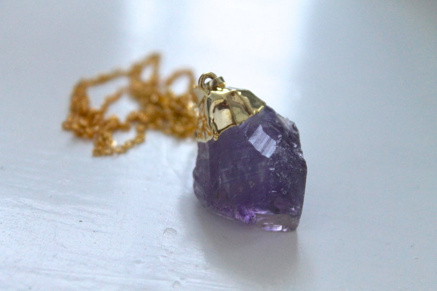 Image of Gold Dipped Amethyst Necklace (Originally $26)