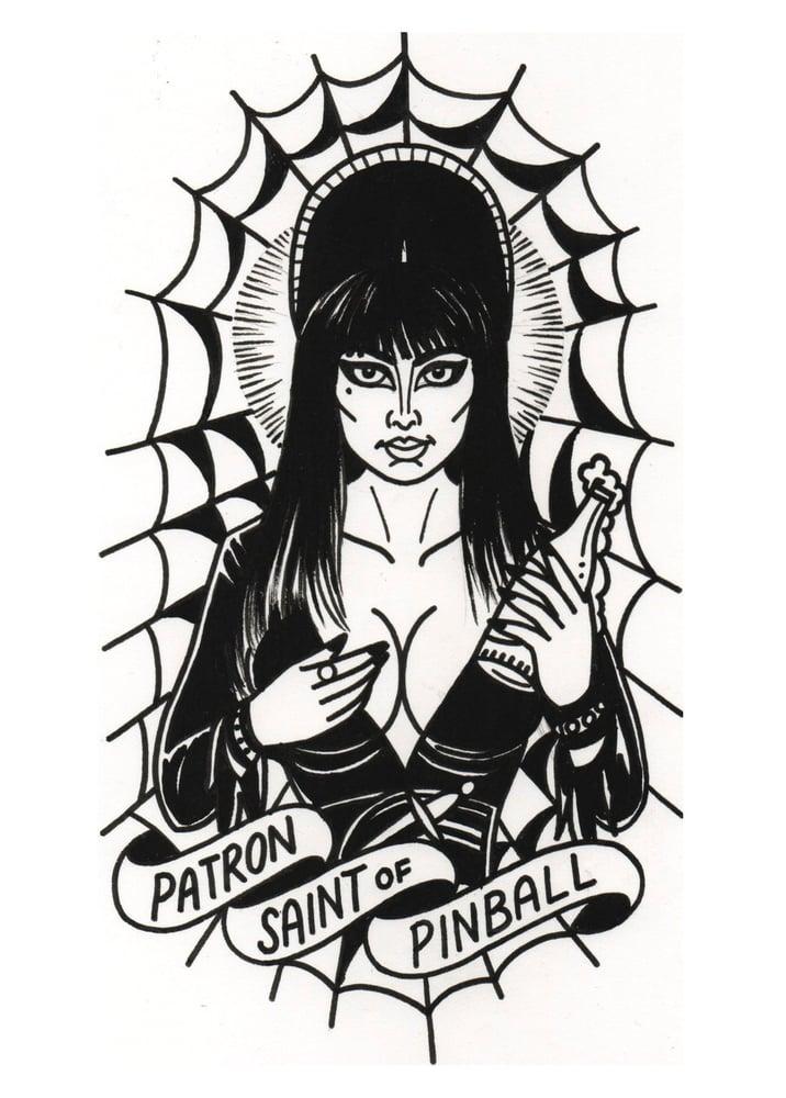 Image of Elvira - Patron Saint of Pinball Print by Sanchez