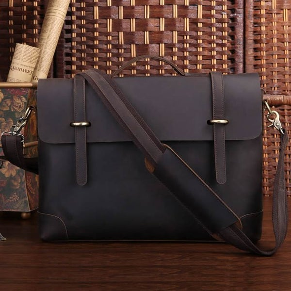 "Image of Vintage Handmade Crazy Horse Leather Briefcase Messenger 13"" 14"" Laptop / 13"" 15"" MacBook Bag (n369)"