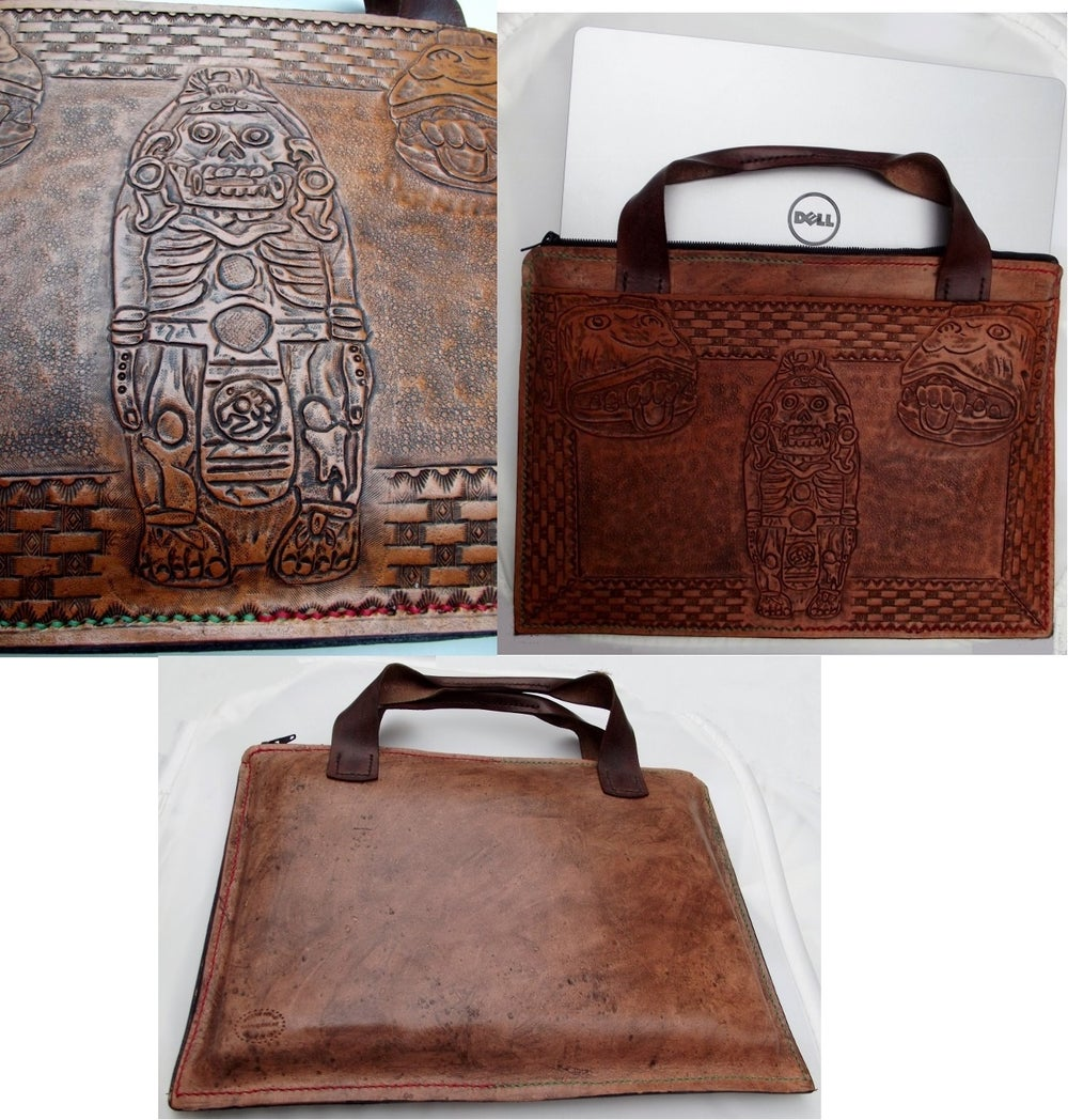 Image of Custom Hand Tooled Briefcase Style Laptop Computer or Tablet Bag Case. Your image/design or idea.