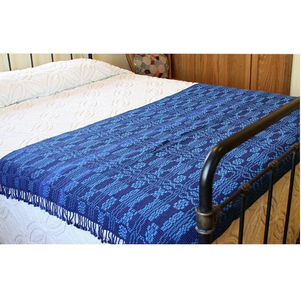 Image of Handwoven Coverlet, Royal Navy Blue Indigo Turquoise, Eco-Friendly Bamboo