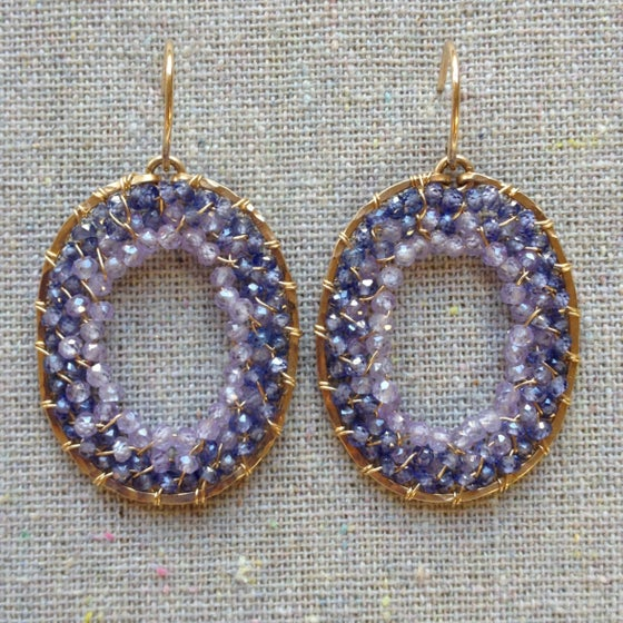 Image of Blue and purple zircon woven ovals