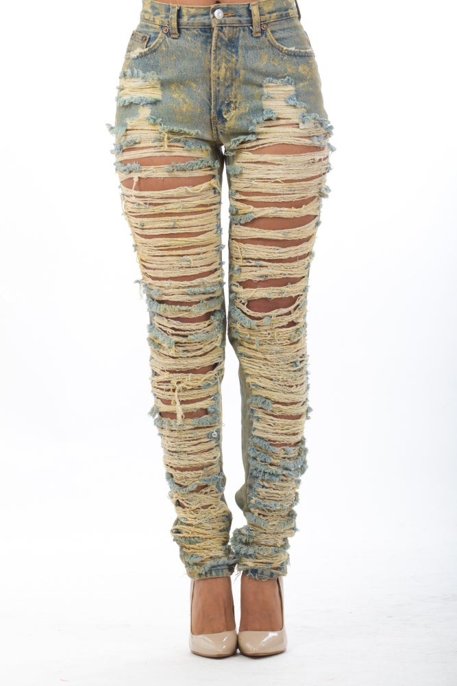 Image of Dirty Top-Bottom Jeans **PRE-ORDER WILL SHIP 05/31