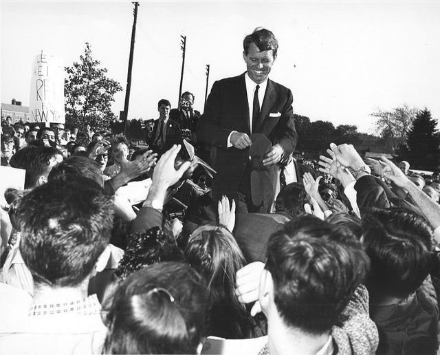 Image of Bobby Kennedy Greets A Crowd At Hofstra University: 1964