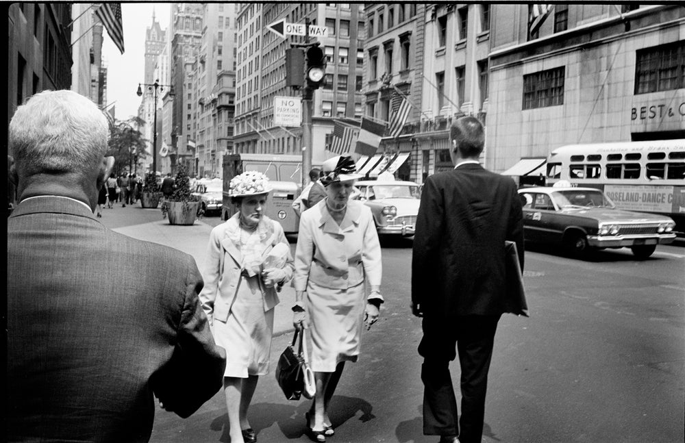 Image of Two Fashionable Older Women Walk Down 5th Avenue: Mid 1960's