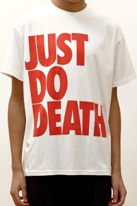 Image of Oversized T-Shirt With Red 'Just Do Death' Print