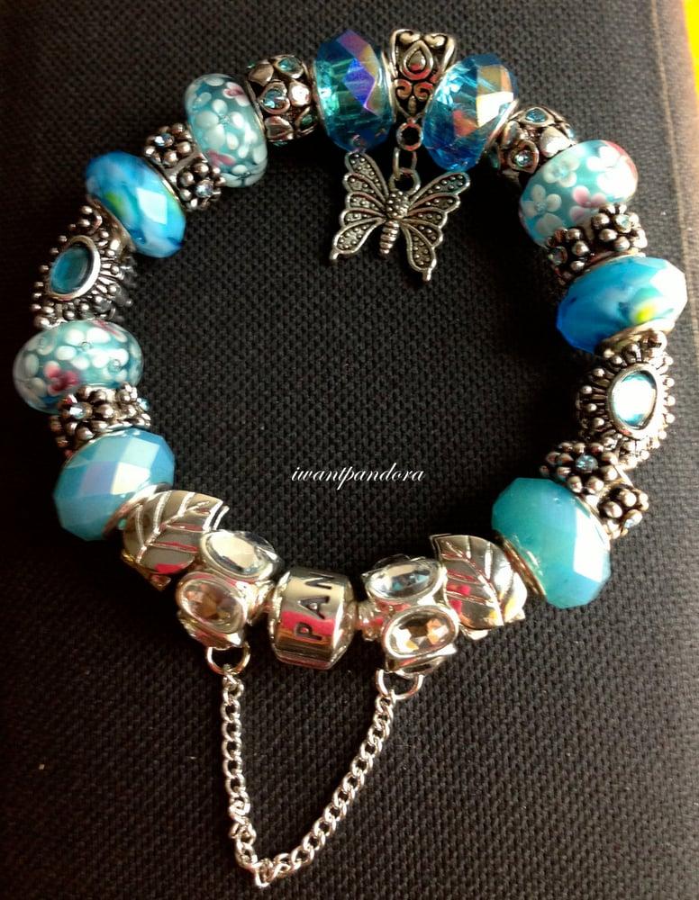 Image Of Authentic Pandora Bracelet Charm Baby Blue Splash 7 5