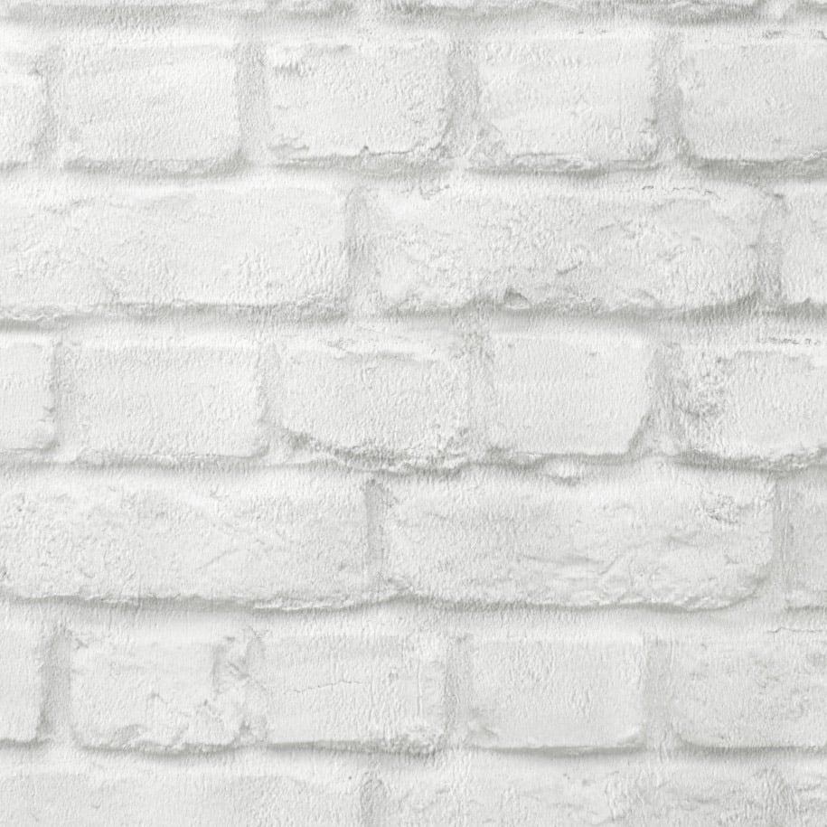 Image Of Rasch White Brick Textured Wallpaper