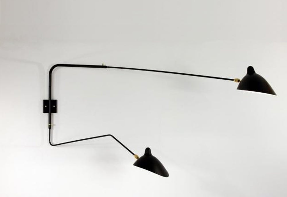Image of Serge Mouille Style Wall Sconce 2 Rotating Arms