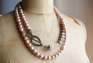 Image of Pink Pearl Double Wrap with Rose Quartz and Marcasite Toggle
