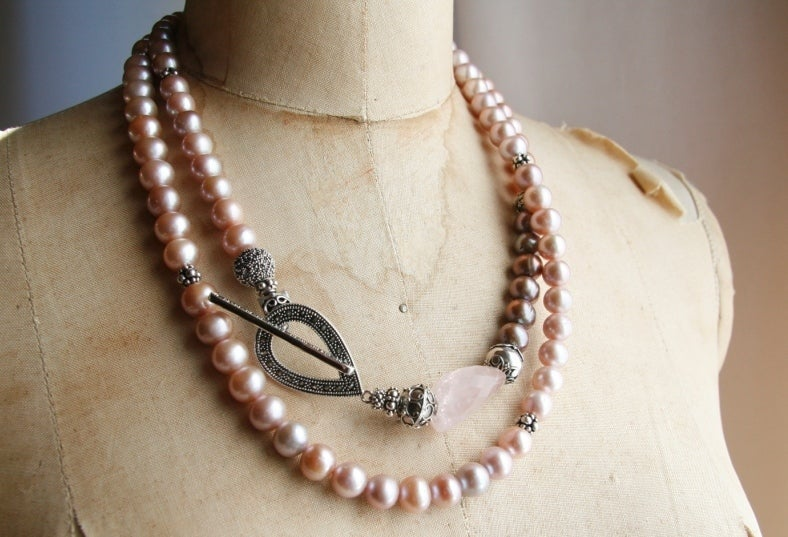 Pink Pearl Double Wrap with Rose Quartz and Marcasite Toggle
