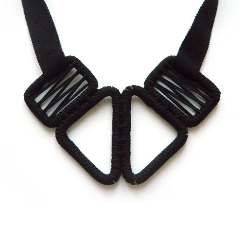 Image of short woven necklace #943, color 10B (carbon/bronze)