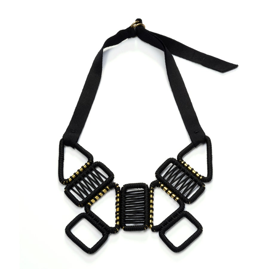 Image of 9 buckle statement woven necklace #945, color 10B (carbon/bronze)