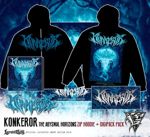 Image of KONKEROR - zip hoodie + CD / DIGIPACK deal