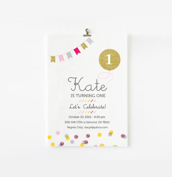 Image of Gold balloon and confetti custom invite