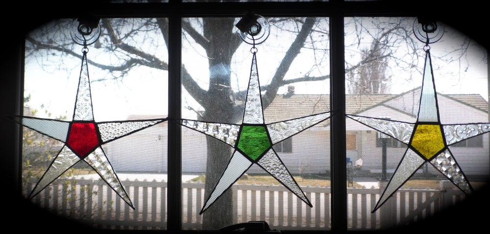 Image of Wishing Star/solid center-stained glass