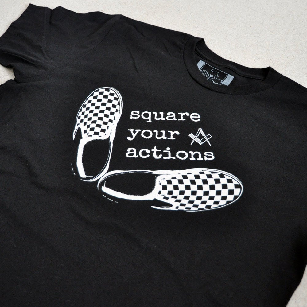 Image of Square Your Actions Black T-Shirt