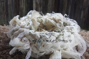 "Image of Soft White Burlap & Lace ""Baby Bird Nest"" Another Woodsy Wonders Origina"
