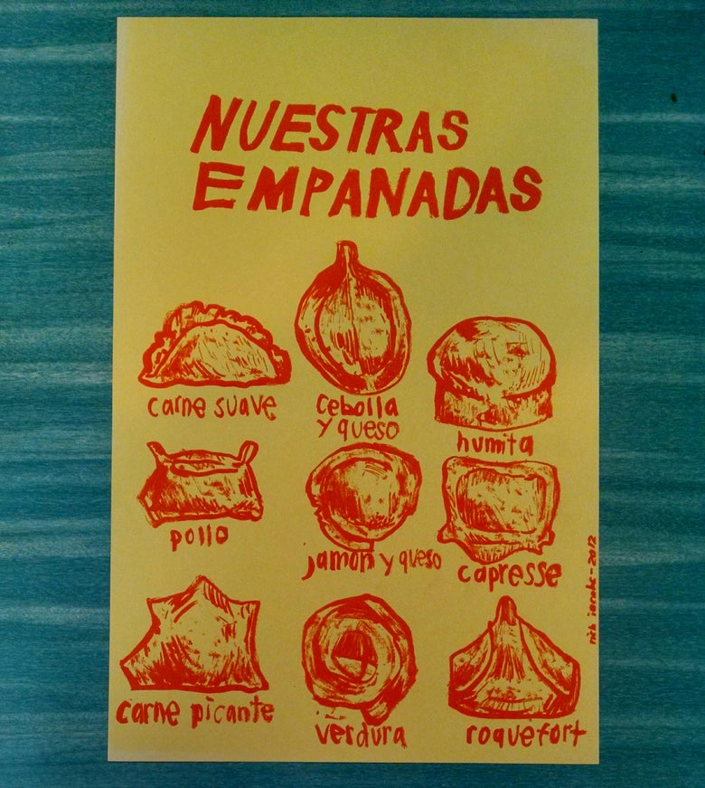 "Image of ""Nuestras Empandas""  Riso Print. Orange ink on yellow heavy stock paper-Rich Jacobs"
