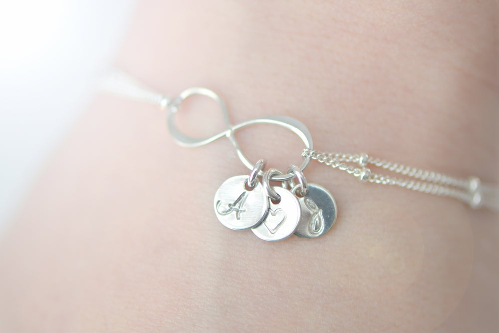Image of Sterling Silver Personalized Infinity Bracelet with Satellite Chain