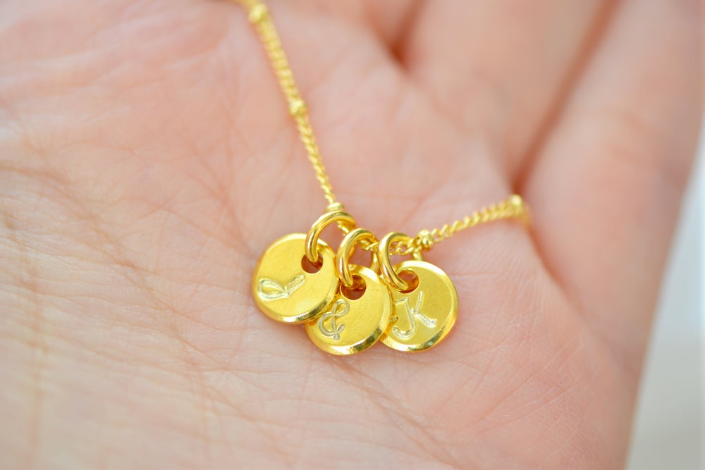 Image of Dainty Gold Vermeil Initial Disc Necklace