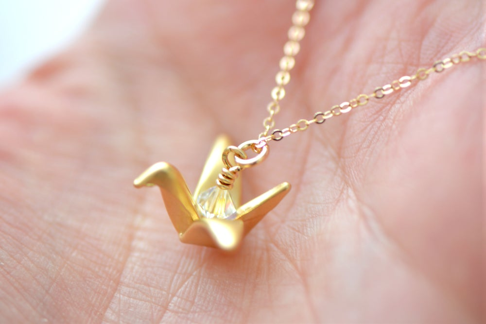 Image of Birthstone Origami Crane Necklace