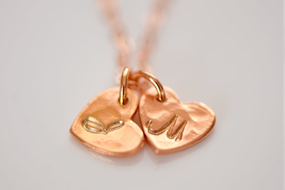 Image of Rose Gold Vermeil Heart Initial Necklace