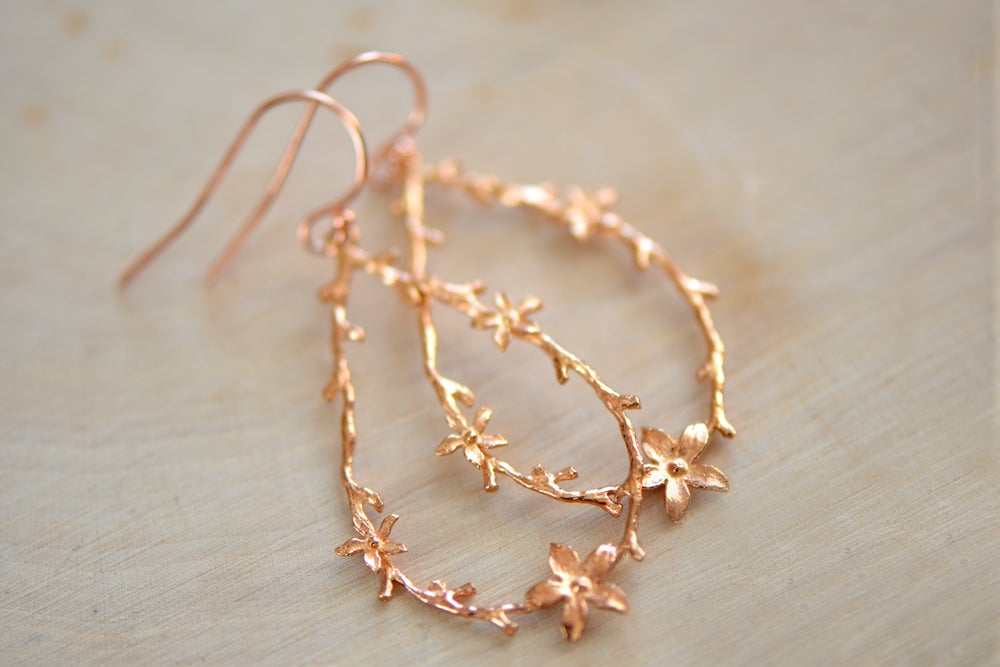 Image of Rose Gold Twig and Blossom Earrings - Large Dangle Earrings