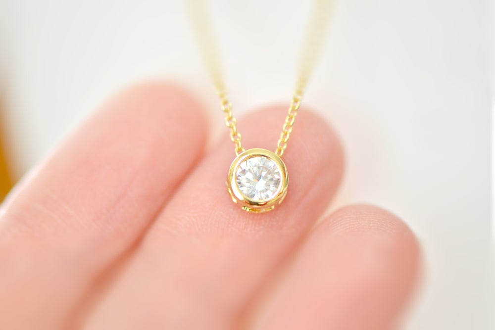 Image of Cubic Zirconia Solitaire Necklac