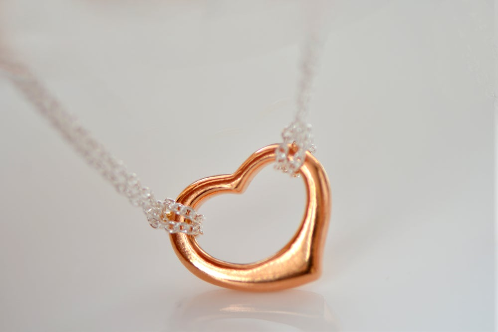 Image of Rose Gold Open Heart Necklace