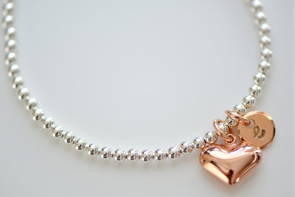 Image of Sterling Silver Beaded Bracelet with Rose Gold Charms