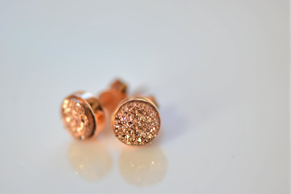 Image of Tiny Rose Gold Druzy Studs
