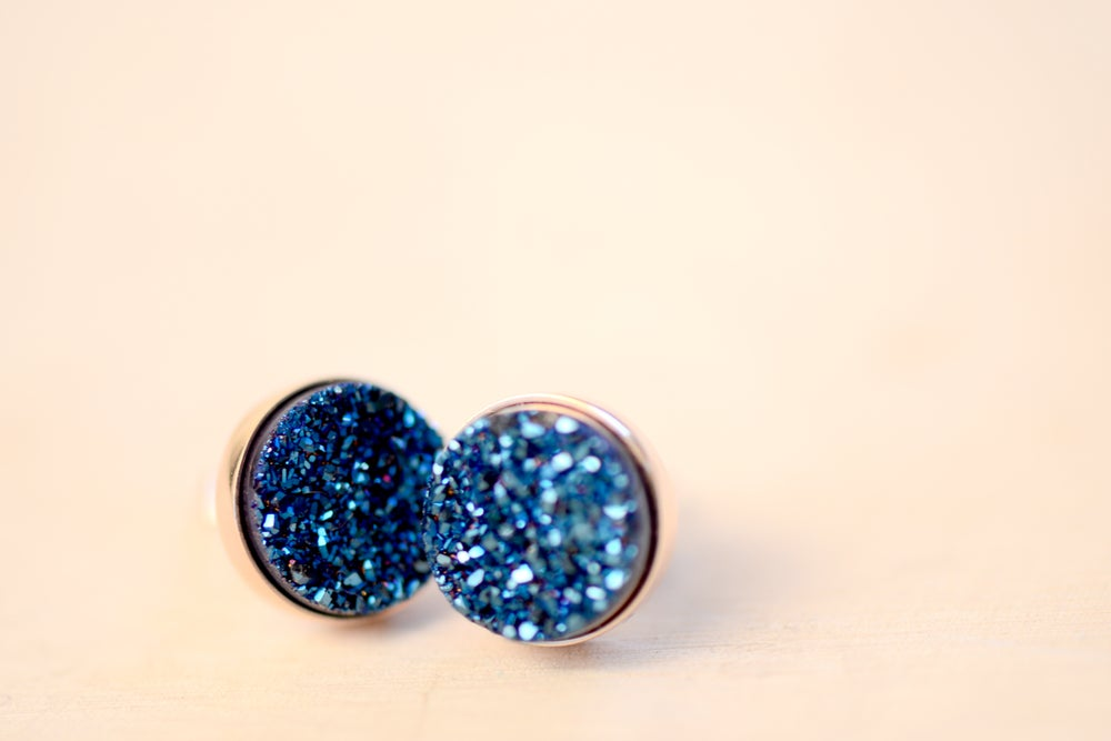 Image of Shimmering Blue Druzy Studs in 10mm