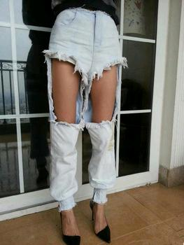 Image of 33. Rough Fall Distressed Denim Jeans