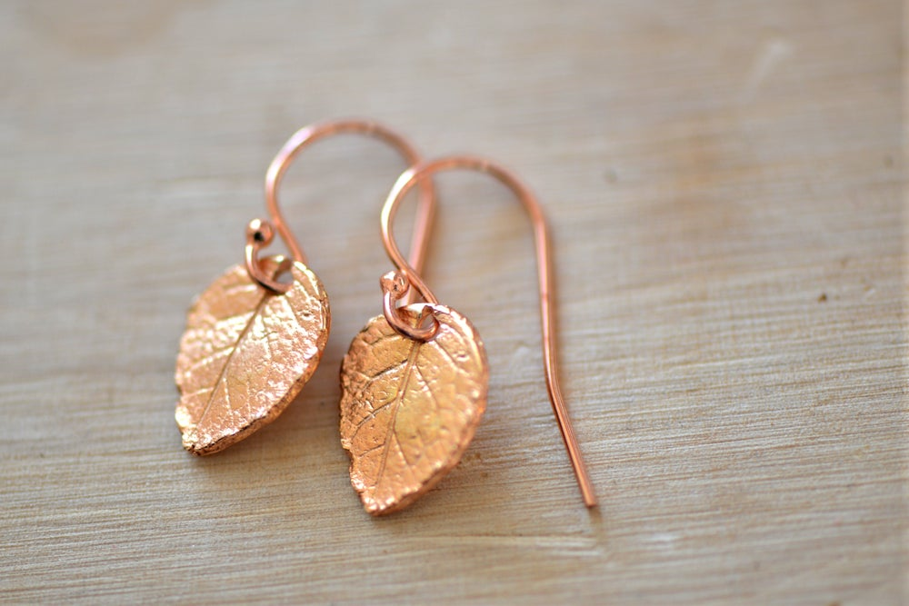 Image of Tiny Rose Gold Leaf Earrings