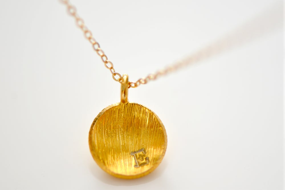 Image of Personalized Initial Gold Vermeil Dome Disc Necklace