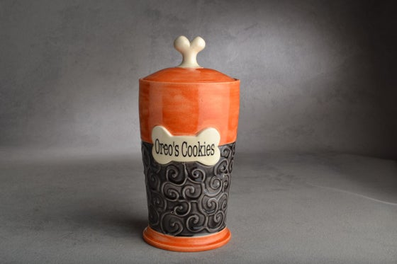 Image of Dog Treat Jar Black & Orange Oreo