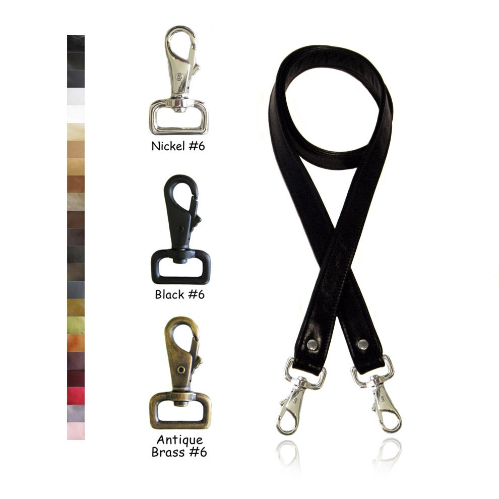 "Image of Crossbody / Messenger Bag Strap - Choose Leather Color - 50"" Length, 1"" Wide, #6 Swiveling Hooks"