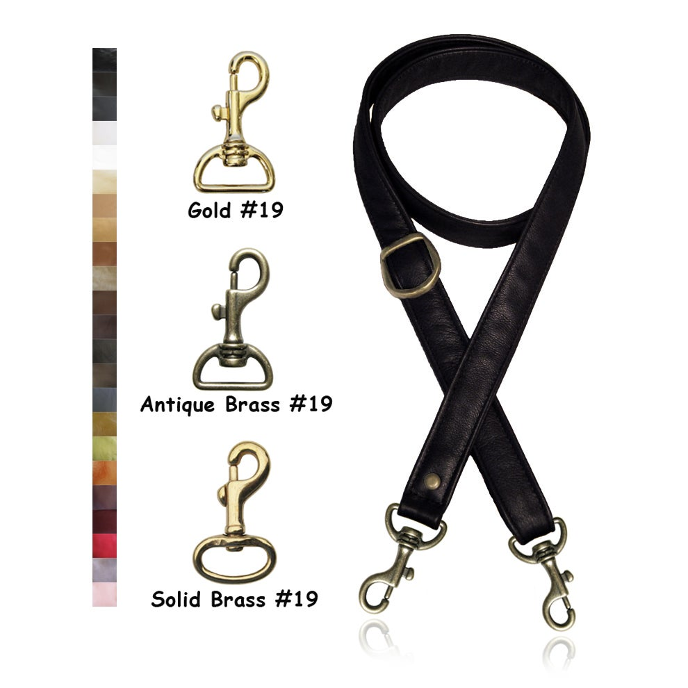"""Image of 55"""" (inch) Adjustable Purse Strap - 1"""" (inch) Wide - Your Choice of Leather & Gold Tone Hook #19"""
