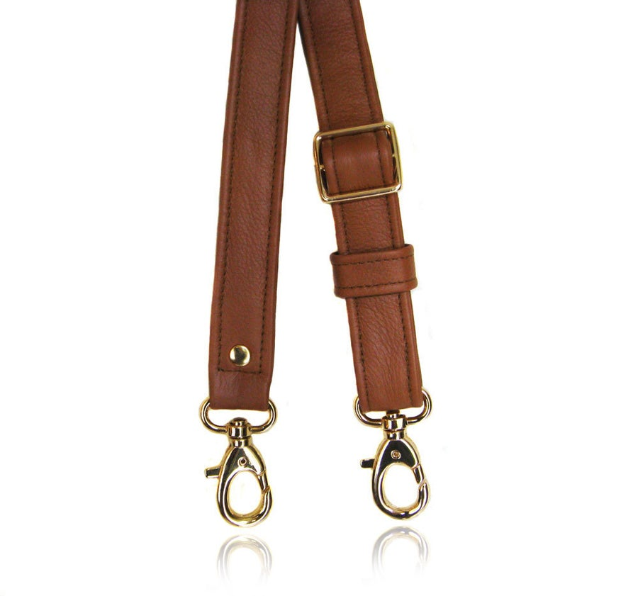 "Image of Dooney & Bourke Replacement Adjustable Shoulder/Crossbody Strap - 1"" Wide - Choose Leather + Hooks"