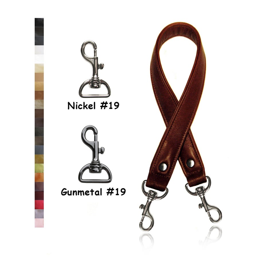 "Image of Leather Shoulder Bag/Purse Strap - Choose Color & Finish - 30"" Length, 1"" Wide, #19 Bolt-style Hooks"