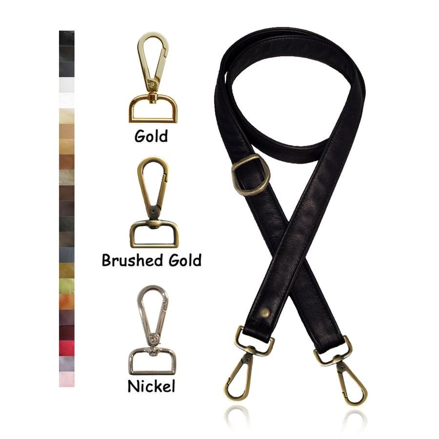 "Image of Adjustable Crossbody Bag Strap - Choose Leather Color - 55"" Maximum Length, 1"" Wide, #14 Hooks"