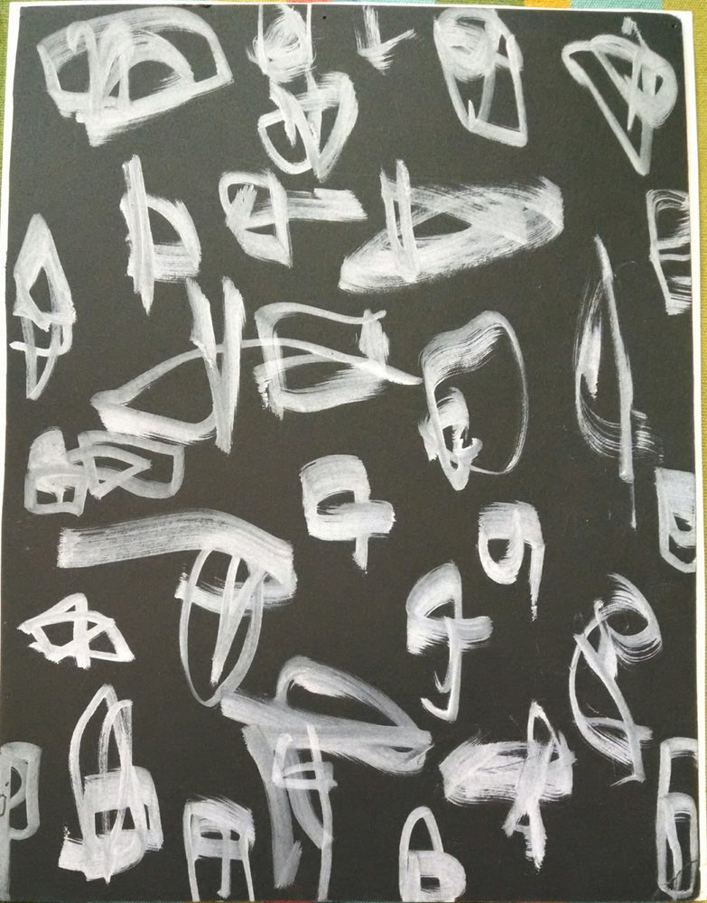 """Image of Drawing- """"White Noise"""" on Black paper."""