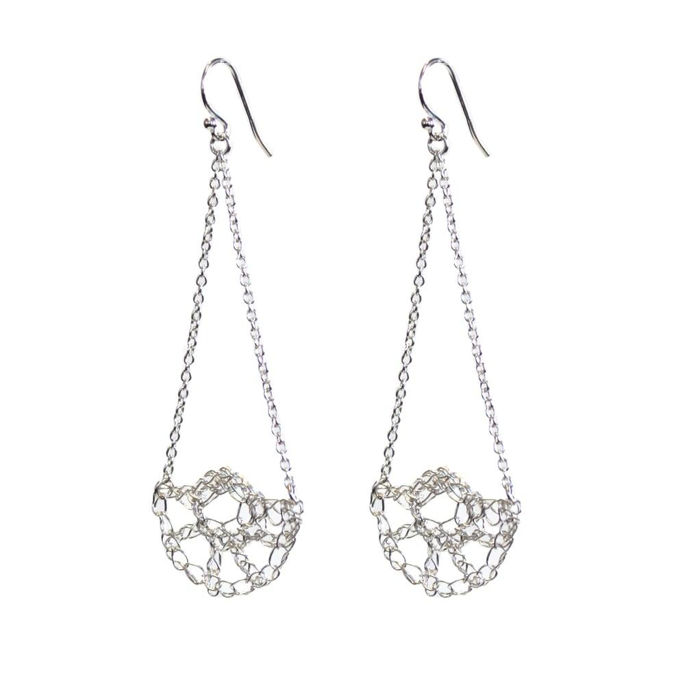 Image of Half Shell Swing Earrings - Silver
