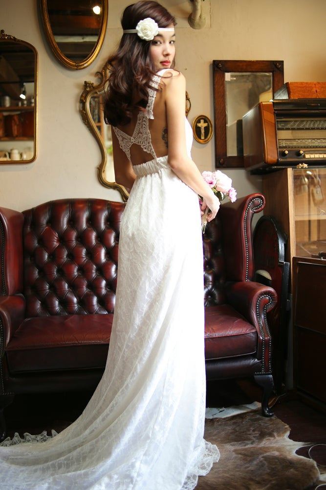Image of Lace BUTTERFLY Back Wedding Dress - Made to Order