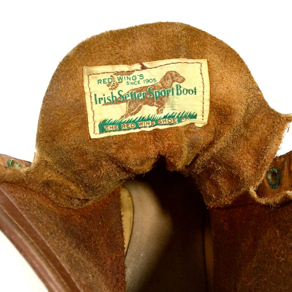 Image of 1950's red wing boots with crepe sole