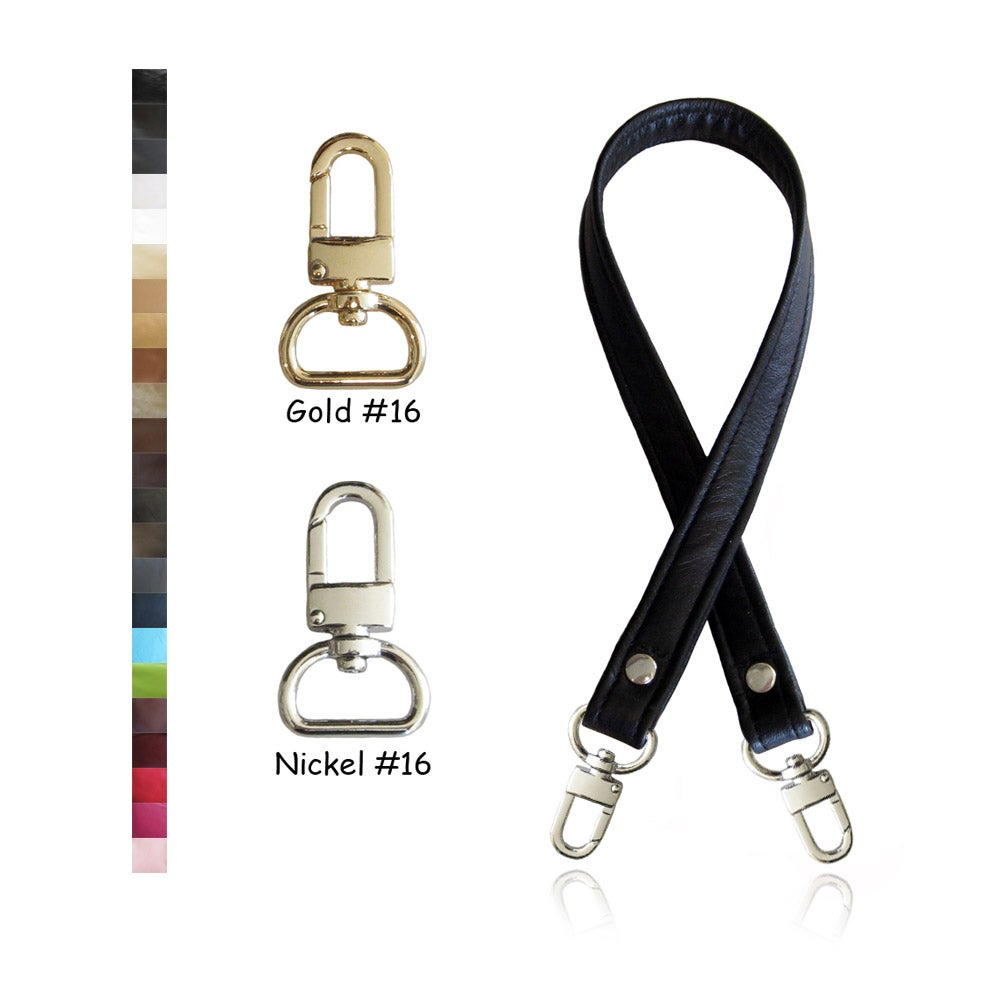 "Image of 20"" (inch) Leather Strap - .75"" (inch) Wide - GOLD or NICKEL #16 Hooks - Choose Color & Hardware"