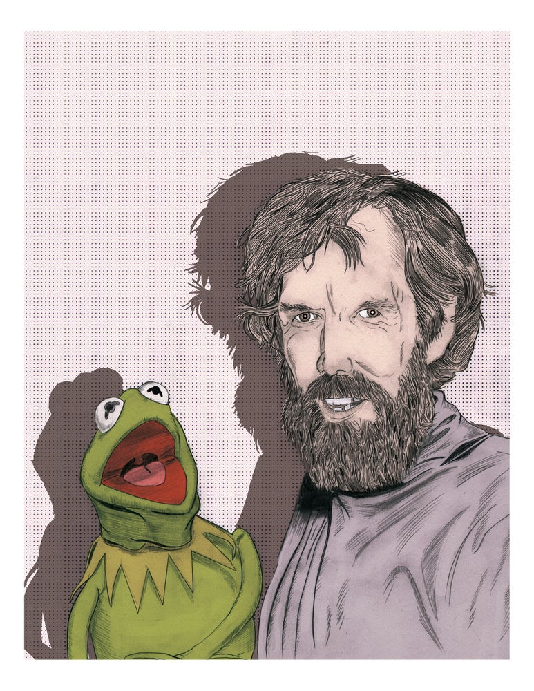 Image of Illustration of Jim Henson and Kermit the Frog - PRINT